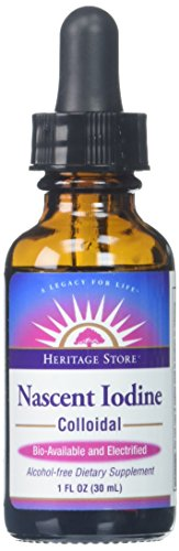 Heritage Store Colloidal Nascent Iodine Supplement Drops | Thyroid Support | Help Boost Metabolism, Energy and Focus | 1 FL ounces (480 Servings)