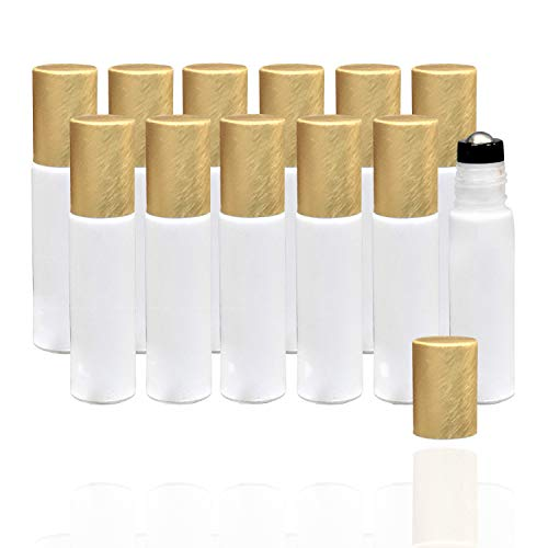Holistic Oils Roller Bottles Bulk for Essential Oils (12 PACK) 10ml White Glass Roll-On Empty Roller Bottles with Stainless Steel Roller Balls to Apply Smoothly on Your Skin