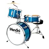 Mendini by Cecilio 13 inch 3-Piece Kids/Junior Drum Set with Throne, Cymbal, Drumsticks, Metallic Blue, MJDS-1-BL