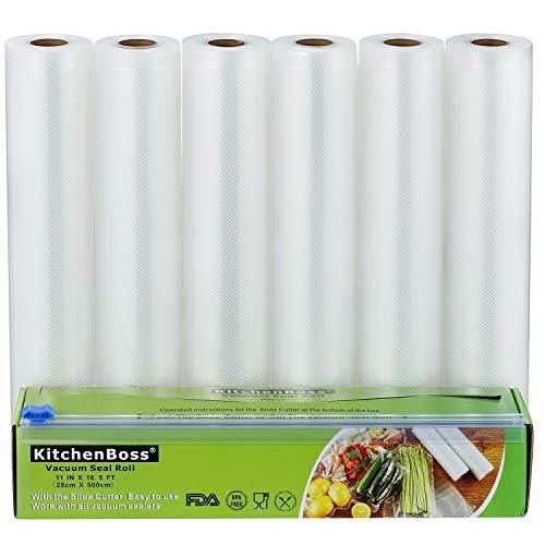 KitchenBoss Sacchetti Sottovuoto per Alimenti, 6 Pezzi da 28x500cm Totale 30M, (Non pi forbici) Rotoli Sacchetti goffrati,per Conservazione Alimenti e Cottura Sous Vide