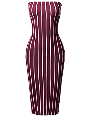 Tight fit / Strapless / Elastic tube top / Pinstripe pattern print / Midi length dress HAND WASH COLD. DO NOT BLEACH. TUMBLE DRY. IRON LOW. DO NOT DRY CLEAN. Mid-weight / Stretchable / Unlined / Hits below knee *** ITEM MAY RUN SMALL. PLEASE REFER TO...