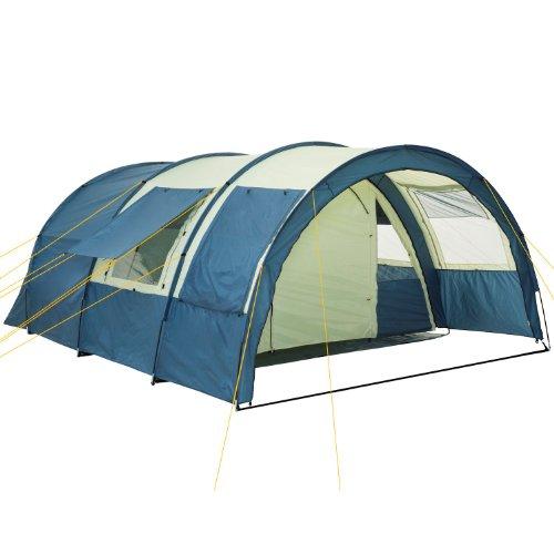 CampFeuer Tunneltent | Voor 4 personen | 2 slaapcompartimenten | Verplaatsbare ingangswand | Extra opbergruimte