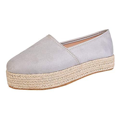 Zapatos de Vestir Mujer Verano Plataforma Tacon Medio PAOLIAN Zapatos de Loafer Mujer Otoño Elegantes Zapatillas Casual Alpargatas Zapatos de Esparto Alpargatas Mujer Baratos