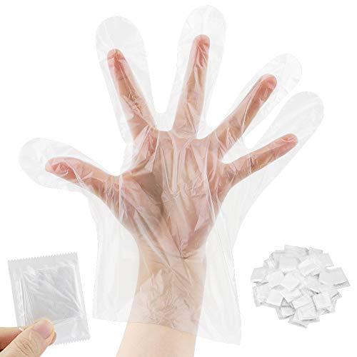 Guanti usa e getta, portatili, in plastica trasparente, per catering, fai da te, pulizia, tintura...