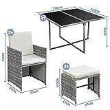 Ribelli 9-teiliges Gartenmöbel Set Lounge Set cremefarbenen Kissen Tisch Plus Vier Stühle und 4 Fußhocker - 3