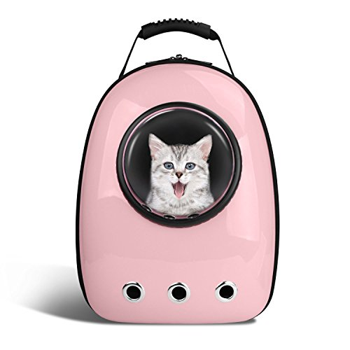 BlitzWolf Anzone Pet Portable Carrier Space Capsule Backpack, Pet Bubble Traveler Knapsack Multiple Air Vents Waterproof Lightweight Handbag for Cats Small Dogs & Petite Animals-Pink,30L