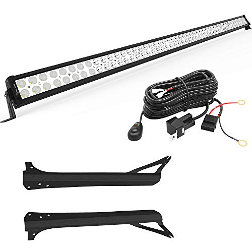 LEDKINGDOMUS 300W 52 inches Light Bar with Mounting Brackets and Wiring...