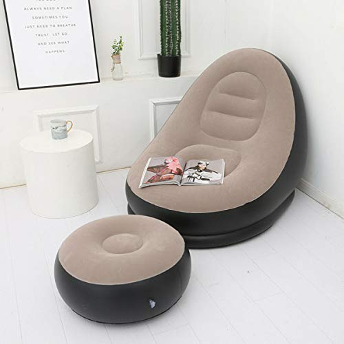 Prakal Inflatable Lounger 1 Person Chair with Ottoman Foot Stool Rest - Huge Bed Sofa for Kids and Adults