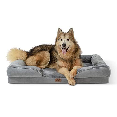 Bedsure Letto per Cani Grande 106x80x18cm - Divano per Cani Taglia Grande in Uovo Foam, Colore Grigio, Cuscino per Cani XL Sfoderabile e Lavabile