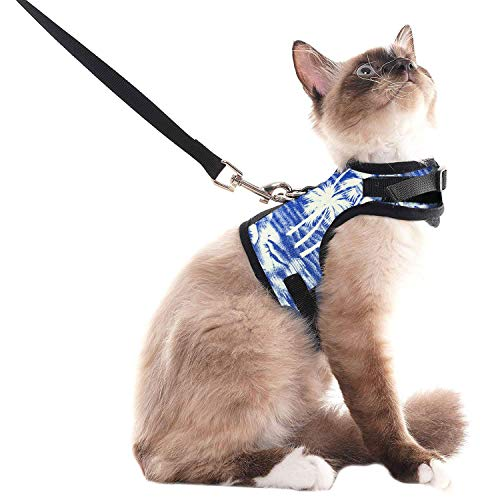 SCENEREAL Escape Proof Cat Harness and Leash - Adjustable Soft Mesh Vest Harness for Rabbits Puppy Kittens Coconut Tree Printing, S