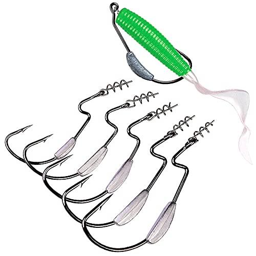 Amo Da Pesca Ponderato Da 10 Pezzi Con Chiusura a Molla, Amo Da Nuoto in Plastica Morbida Per Scorfani D'acqua Salata 3/0# 3g
