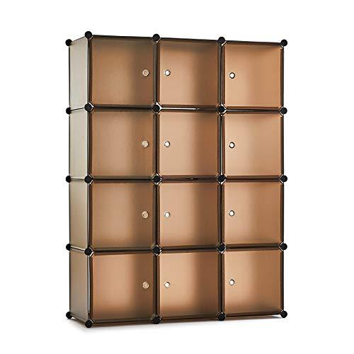 Meerveil Guardaroba Modulare da 12 cubi, Armadio Portatile,145 X 110 X 40 cm,Organizer per...
