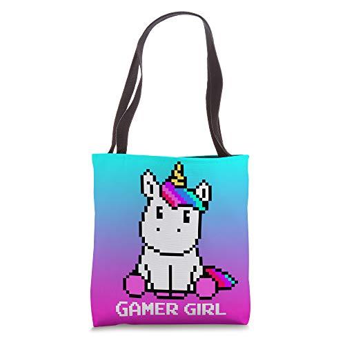Cute Unicorn Gaming Video Games Gamer Girl Gift Blue Pink Tote Bag