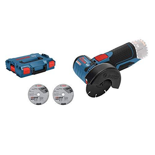 Bosch Professional 12V System Akku Winkelschleifer GWS 12V-76 (3 Trennscheiben, Scheibendurchmesser: 76 mm, ohne Akkus und Ladegerät, in L-BOXX)