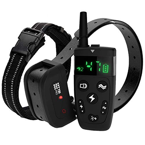 TBI Pro Dog Training Collar with Remote - Shock Collar for Dogs Range 2000 feet, Vibration Control, Rechargeable Bark E-Collar - IPX7 Waterproof for Small, Medium, Large Dogs, All Breeds (Black)