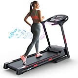 GYMOST Folding Treadmills for Home, Large Running Machine Treadmill with Music Speaker, Electric Treadmills for Running and Walking Jogging Exercise with Manual Adjustable Incline -Black