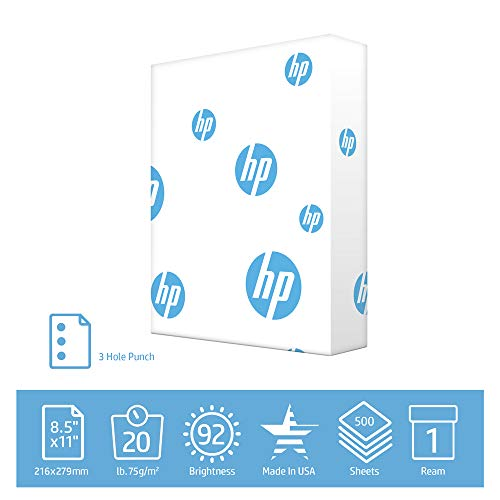 HP Printer Paper Office 20lb, 8.5 x 11, 3 Hole Punched, 1 Ream, 500 Sheets, Made in USA, Forest Stewardship Council Certified Resources, 92 Bright, Acid Free, Engineered For HP Compatibility, 113102R