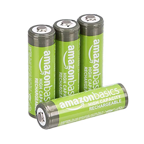 AmazonBasics AA High-Capacity Ni-MH Rechargeable Batteries (2400 mAh), Pre-charged - Pack of 4