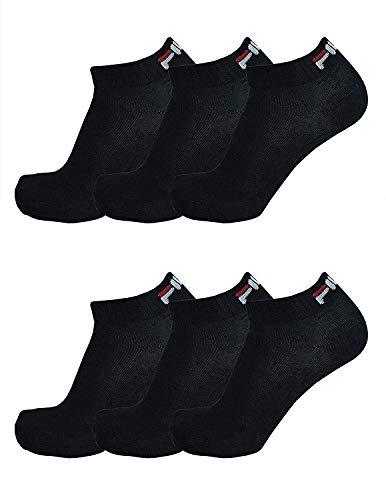 Fila 6 Paio Calzini Trimestre Sneakers Unisex, 35-46 Scarpe Da Ginnastica Calzini, Bianco E Nero - Nero, Nero, 39-42 (6-8 UK), 39-42 (6-8 UK)