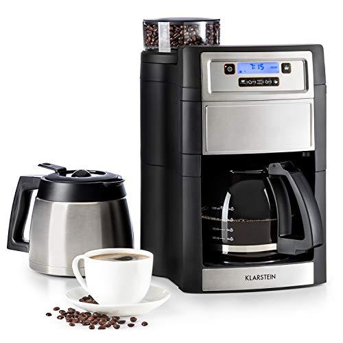 Klarstein Aromatica II Duo Kaffeemaschine mit Mahlwerk - Filter-Kaffeemaschine, 1000 Watt, 1.25 Liter Glaskanne, 1.25 Liter Thermoskanne, Timer, inkl. Permanent- und Aktivkohle Filter, silber