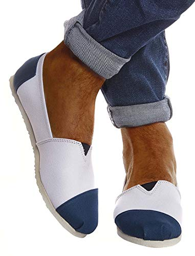 Leif Nelson Hombres Zapatos Alpargatas LN-101 Indigo Blanca 43 EU