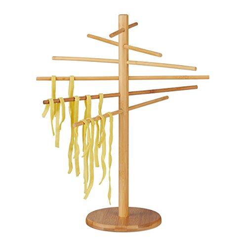 Relaxdays 10022196, natur Nudeltrockner Bambus, 12 Arme, Nudelständer faltbar, zum Pasta Trocknen, für Spaghetti, 41cm hoch, Holz