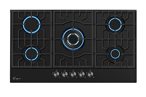 Empava 30 Inch Gas Stove Cooktop 5 Italy Sabaf Sealed Burners NG/LPG Convertible in Black Tempered Glass