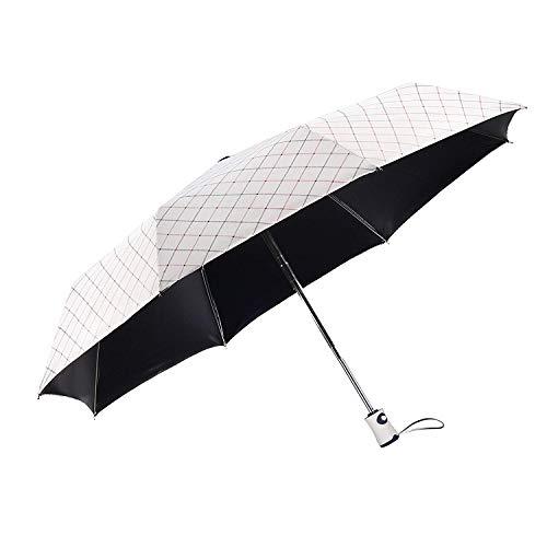 Regenschirm Taschenschirm, Regen- und Sonnenschirm Auf-Zu Automatik Faltbar Klein, Leicht & Kompakt, mit Schwarzer Anti-UV Beschichtung für Winddicht, Regenschutz & UV Schutz, UPF50 +, Elegant Weiß