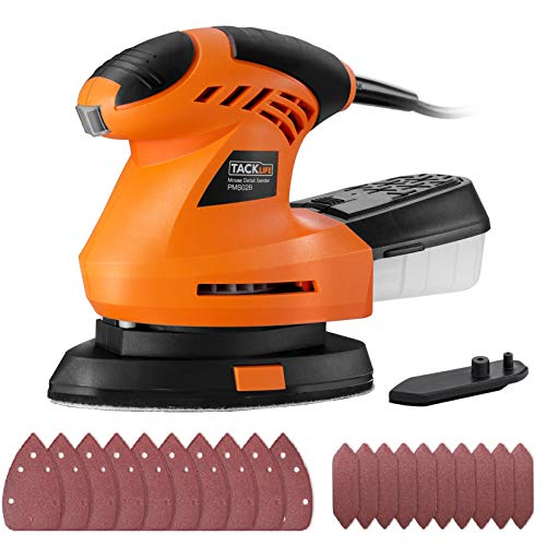 TACKLIFE Mouse Detail Sander with 20 Pcs Sandpapers,360° Rotatable Sanding Pad, 12000 OPM Detail Sander with Efficient Dust Collection System For Tight Spaces Sanding in Home Decoration, DIY | PMS02B