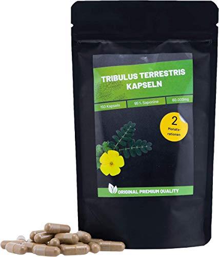 Tribulus Terrestris Kapseln mit 95% Saponinen   150 Kapseln   Booster für Muskelaufbau & Libido   Premium Qualität aus Deutschland