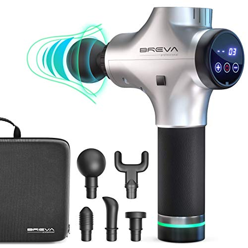 Breva Professional Percussion Massager - Portable Handheld Electric Massage Gun w/5 Head Attachments , Rechargeable Battery - Deep Tissue Personal Massager For Neck , Back - Relieve Soreness , Pain
