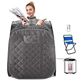OppsDecor Portable Steam Sauna Spa, 2L Personal Therapeutic Sauna for Weight Loss Detox Relaxation at Home,One Person Sauna with Remote Control,Foldable Chair,Timer(US Plug) (Dark Grey)