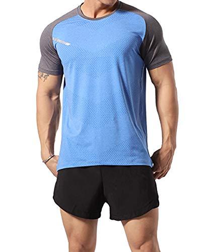 GYMAPE - Camiseta deportiva de manga corta para hombre, transpirable y...