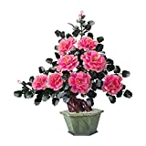 ROM Artificial Bonsai Tree Fake Plants Artificial Bonsai Jade Peony Flower Faux Tree Jade Carving Crafts Perfect for Office Home Decoration Chinese Bonsai Ornaments Artificia