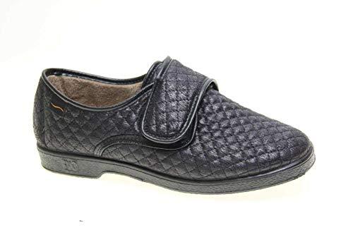 Zapatilla Velcro Mujer Tipo Zapato Doctor Cutillas en Negro Talla 40