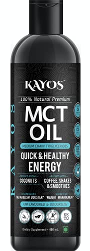 Kayos Naturals MCT Oil From Coconut Unsweetened Keto Diet Sports Supplement, 490 ml