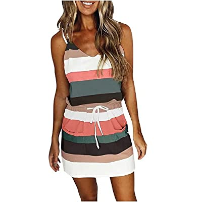 [Soft fabric]: This boho women's dress is made of Polyester. Soft, comfortable, breathable, skin-friendly, comfy to touch and wear, makes you feeling well. [Feature]: Sheath dress with two pockets, V neck, slim fit self-tie belted waist, classic stri...