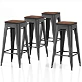 VIPEK 30 Inches Metal Bar Stools Set of 4 Bar Height Barstool Bar Chairs with Wooden Seat 30' for Home Kitchen Cafe Dining Chairs Patio Bistro Restaurant Industrial Style, Matte Black