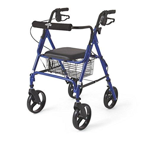 Medline Folding Rollator Walker with Folding 8-inch Wheel, Blue