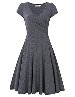STYLE - Cross V-neck,Cap Sleeve,A Line,Knee Length,Slim,Casual,Vintage,Elegant Swing Dress. SUIT FOR - Casual,Wedding,Dating,Working,Party,Home,House Wear. And Perfect for Summer,Spring,Fall. MATERIAL - Solid Color: 95% Cotton,5% Spandex. Floral: 95%...