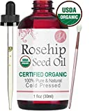 Organic Rosehip Seed Oil (100% Pure & Natural - USDA Certified Organic) Cold Pressed, Chemical Free, Unrefined - All-Natural Moisturizer for Amazing Hair, Skin, and Nails - 1oz Bottle