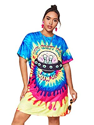 Material: 95% Polyester, 5% Spandex. Fabric has slight stretch. Feature: Plus Size, Loose, Tie Dye, Slogan and Graphic Print, Straight, Crew Neck, Short Sleeve, Straight, Casual. Occasion: Suitable for Vacation, Casual Outtings, Work, Office, Dating,...