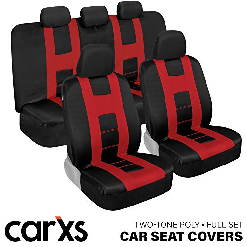 carXS Forza Series Red & Black Car Seat Covers, Full Set – Front and Rear Bench Back Seat Cover Set, Easy to Install with Two-Tone Accent, Universal Fit for Cars Trucks Vans and SUVs