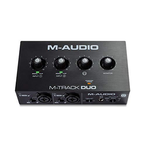 M-Audio M-Track Duo – USB Audio Interface für Aufnahmen, Streaming und Podcasting, mit dualen XLR, Line- & DI-Eingängen, inklusive Softwarepaket