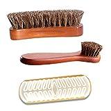 Ousyaah 3 Partes Cepillo Zapatos, Cepillo para Pulir, Cepillo de Limpieza, Cepillo para Zapatos de Haya con Cerdas de Crin, Shoe Brush para Limpiar, Quitar el Polvo y Pulir
