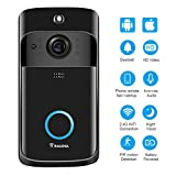 Video Doorbell [2019 Upgrade] 1080P Wireless Doorbell Camera IP5 Waterproof HD 1080P WiFi Security Camera Real-Time Video for iOS&Android Phone, Night Light (Gray) (Black)