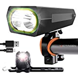 victagen 2021 Newest 5000 Lumens Bike Lights Front and Back,Type C-Input USB Rechargeable Bicycle Lights and Free Taillight, Bicycle Headlight 10 Modes, Fits All Bikes Mountain Road Bike Cycling