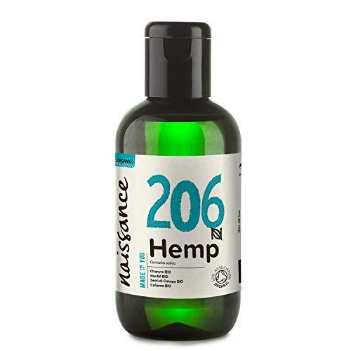 Naissance Aceite Vegetal de Semillas de Cáñamo BIO n. º 206 - 100ml - 100% puro, prensado en frío, virgen, certificado ecológico, vegano y no OGM