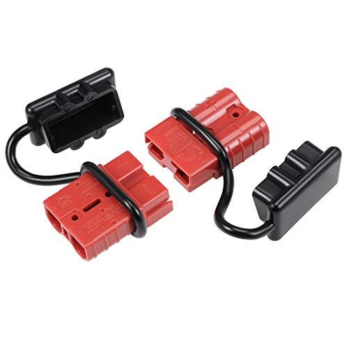 sourcing map 6 Gauge Batterie Schnellkupplungs Trennsatz 50A Kabelstecker für Auto Anhänger rot 2 Packung
