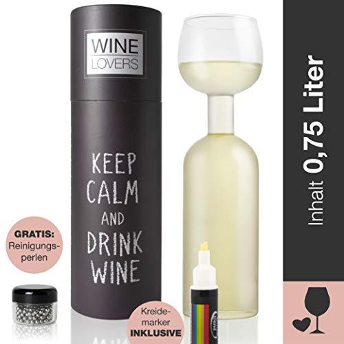 Wine Lovers Botella de Vino de Cristal con rotulador de Tiza